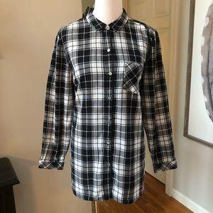 J Jill Tunic Black White Plaid Shirt Button Up XL